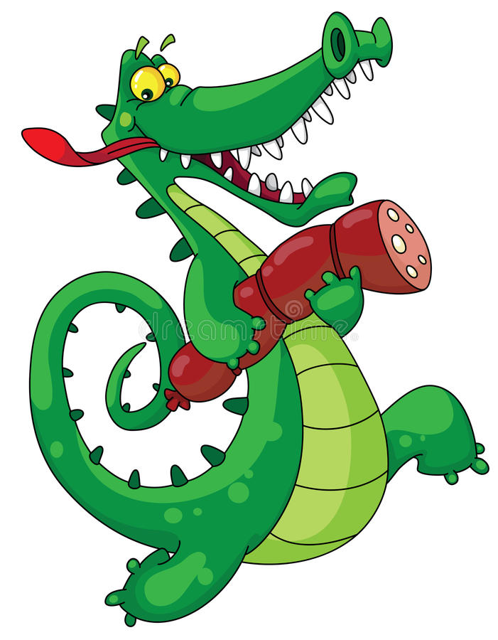 Download Crocodile and sausage stock vector. Image of reptile - 14374024