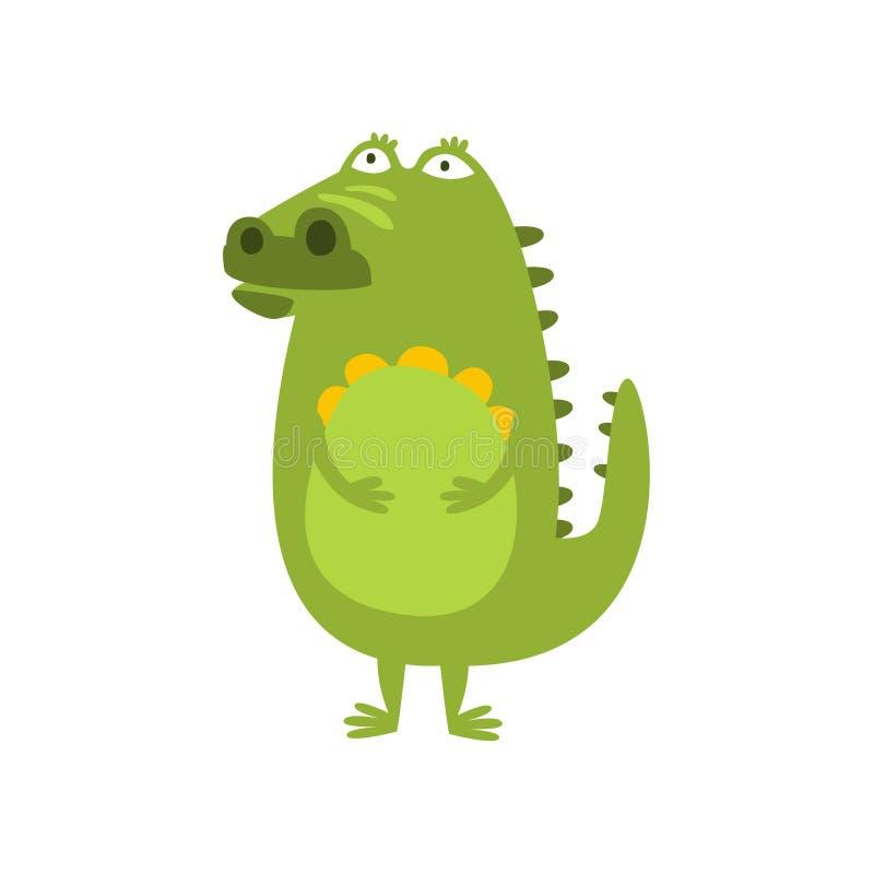 Crocodile se tenant dessin de caractère animal de rêverie et de pensée de bande dessinée de reptile amical plat de vert illustration stock