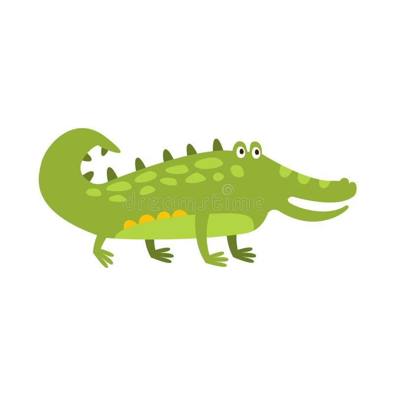 Crocodile se tenant sur le dessin de caractère animal de bande dessinée de quatre jambes de reptile amical plat de vert illustration de vecteur
