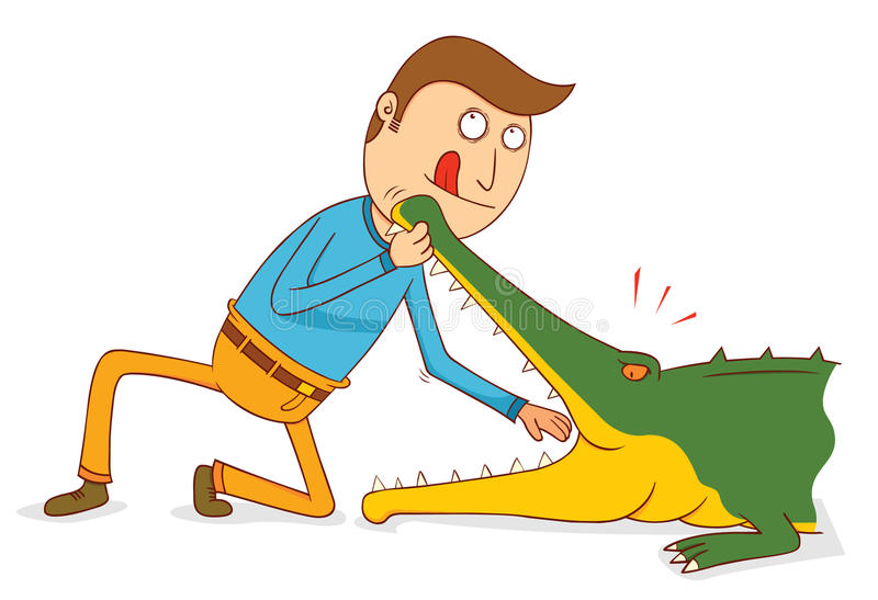 Crocodile Show-Do not try this at home. Illustration stock illustration