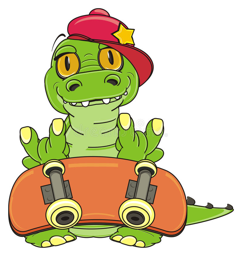 Crocodile with skate vector illustration