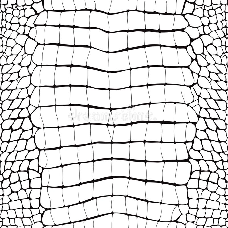 Crocodile Skin Black and White Seamless Pattern vector illustration