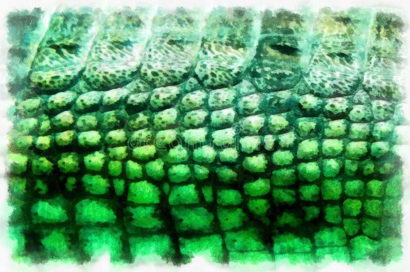 Crocodile skin pattern. Digital art generated painting vector illustration