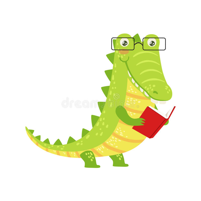 Cartooning The Ultimate Character Design Book Free Download : Crocodile smiling bookworm zoo character wearing glasses