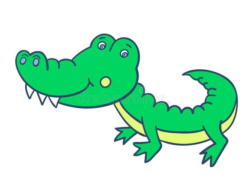 Crocodile-01 sonriente verde ilustración del vector