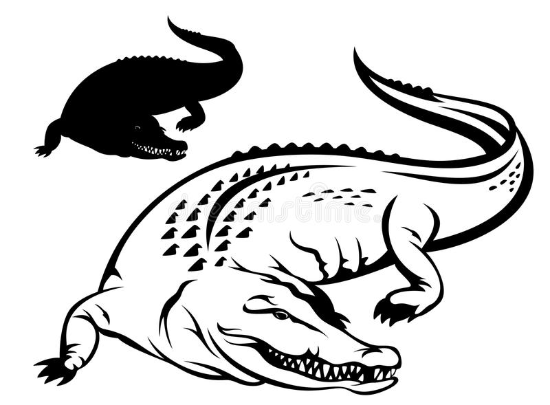 Crocodile vector. Crocodile illustration - black and white outline and silhouette royalty free illustration