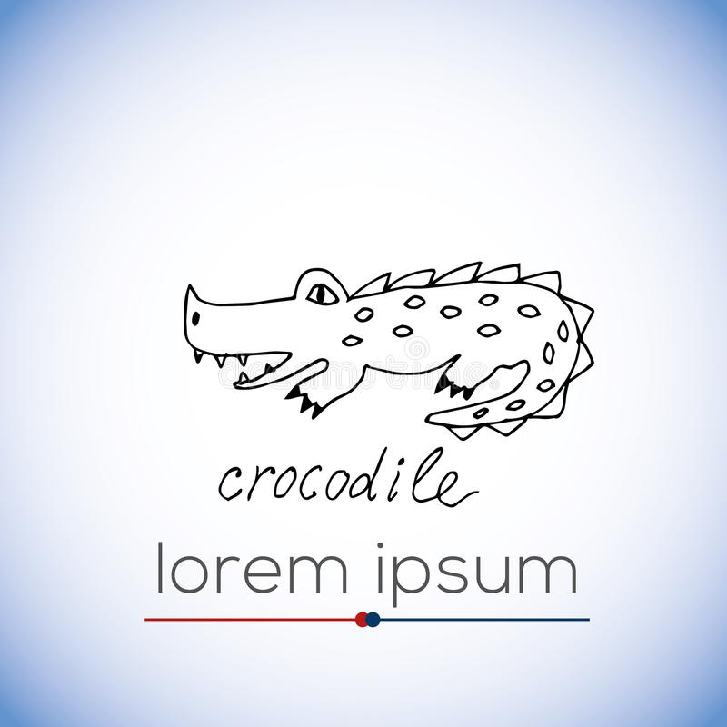 Crocodile vector hand drawn illustration stock illustration