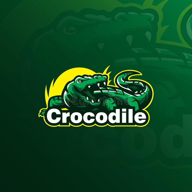 Crocodile vector logo design mascot with modern illustration concept style for badge, emblem and tshirt printing. angry crocodile royalty free illustration