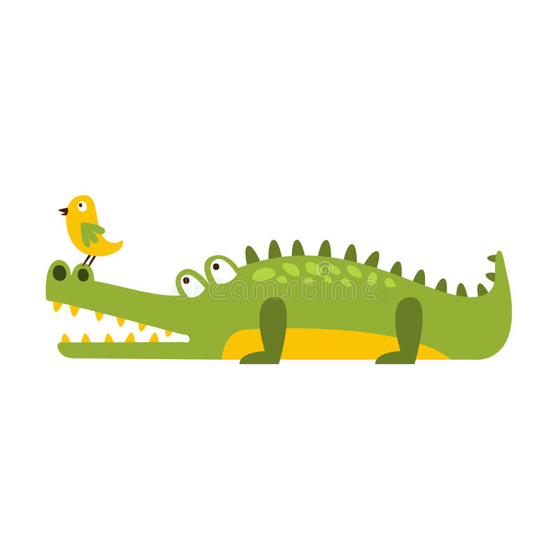 Crocodile Watching Bird On His Nose Flat Cartoon Green Friendly Reptile Animal Character Drawing. Part Of Alligator And Its Different Positions And Activities vector illustration