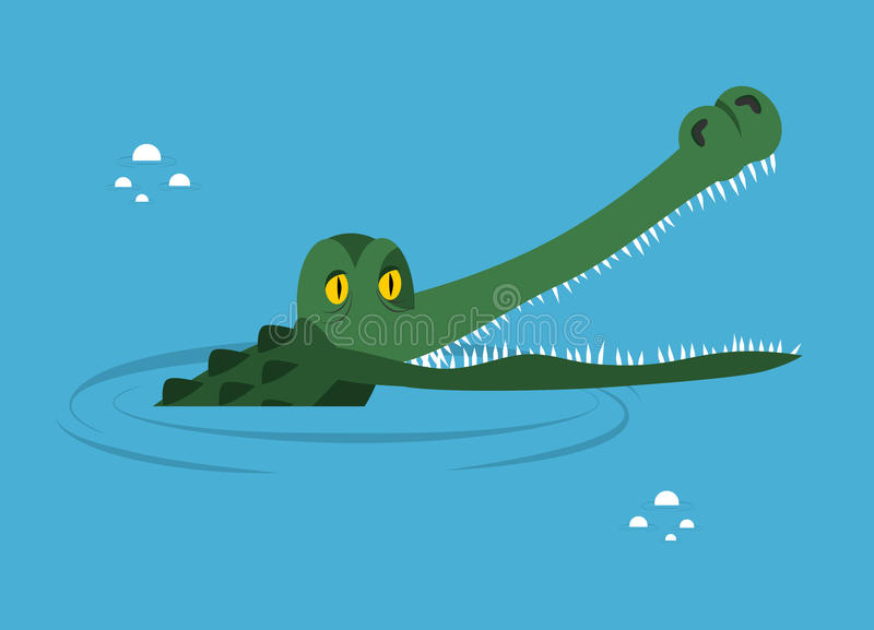 Crocodile in water. large alligator in swamp. royalty free illustration