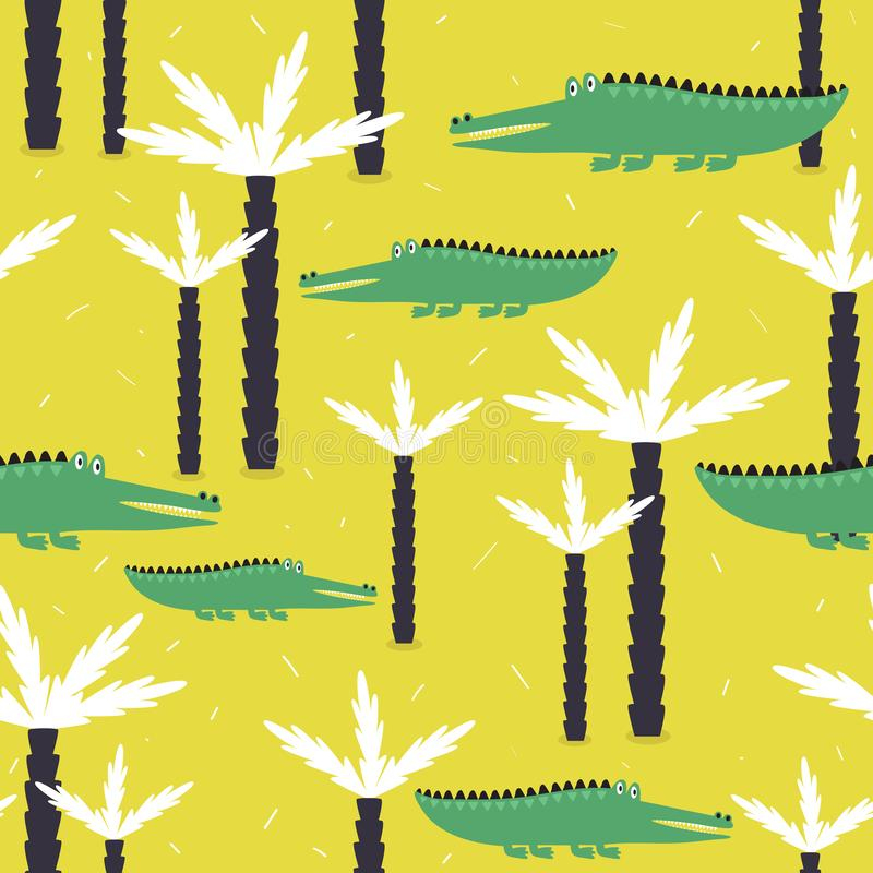 Colorful seamless pattern with crocodiles, palm trees. Decorative cute background with reptiles. Crocodiles and palm trees, hand drawn backdrop. Colorful stock illustration
