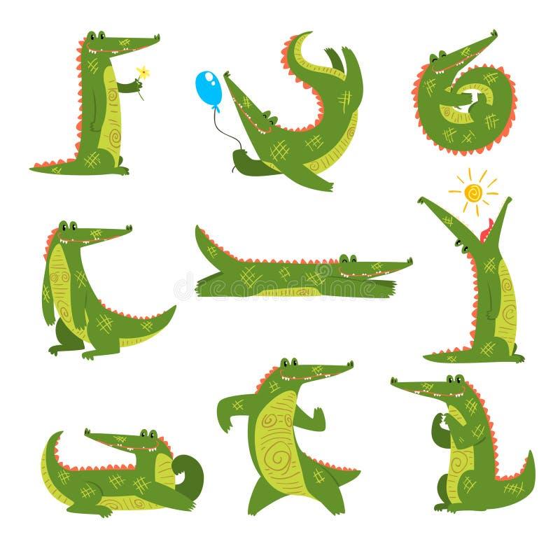 Crocodilo amigável no grupo diferente das poses, ilustração predadora engraçada do vetor do personagem de banda desenhada em um f ilustração do vetor