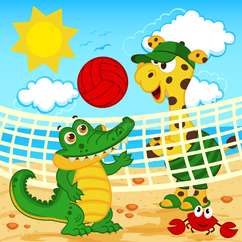 crocodilo do girafa que joga no voleibol de praia ilustração stock