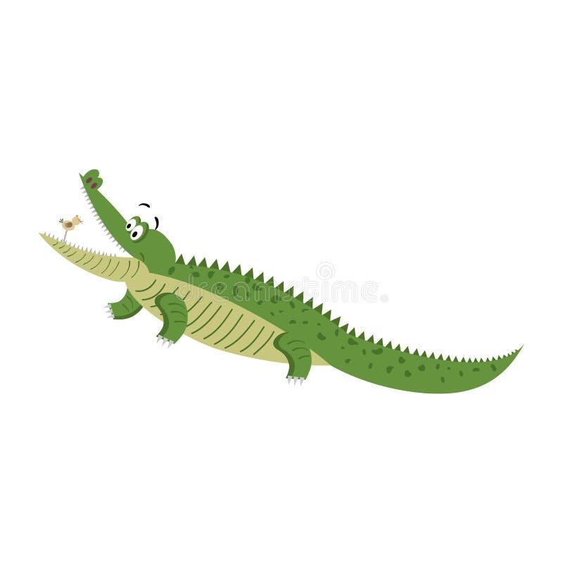 Crocodilo dos desenhos animados com o pássaro na boca largamente aberta ilustração do vetor