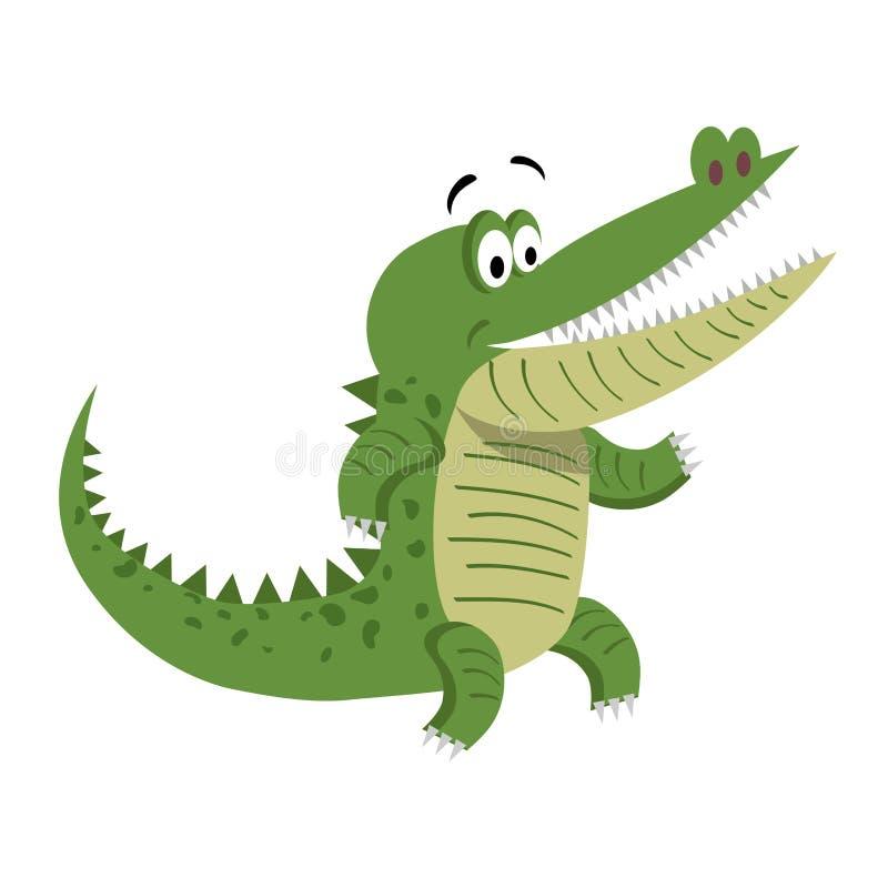 Crocodilo dos desenhos animados que está com a boca largamente aberta ilustração do vetor