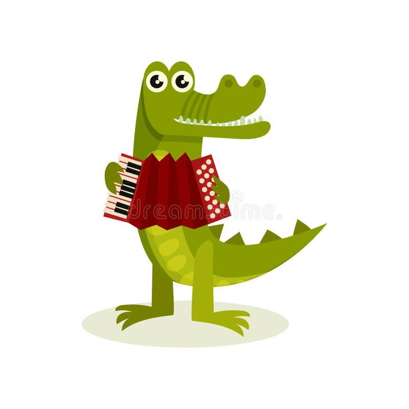 Crocodilo humanizado engraçado que joga o acordeão Animal predatório verde Elemento liso do vetor para o livro de crianças ilustração royalty free