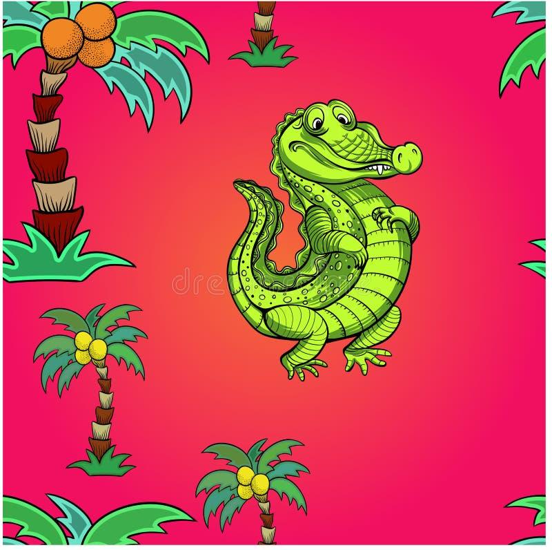 crocodilo Ilustração do vetor para crianças Use materiais impressos, sinais, objetos, Web site, mapas, cartazes, cartão D sem eme ilustração royalty free