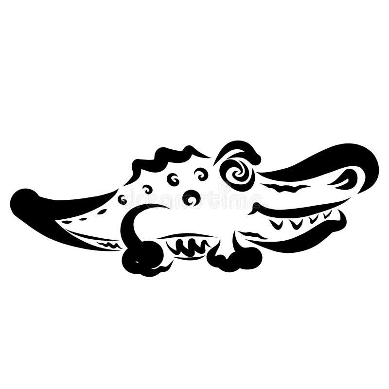 Crocodilo pequeno engraçado com um teste padrão, monstro toothy ilustração do vetor
