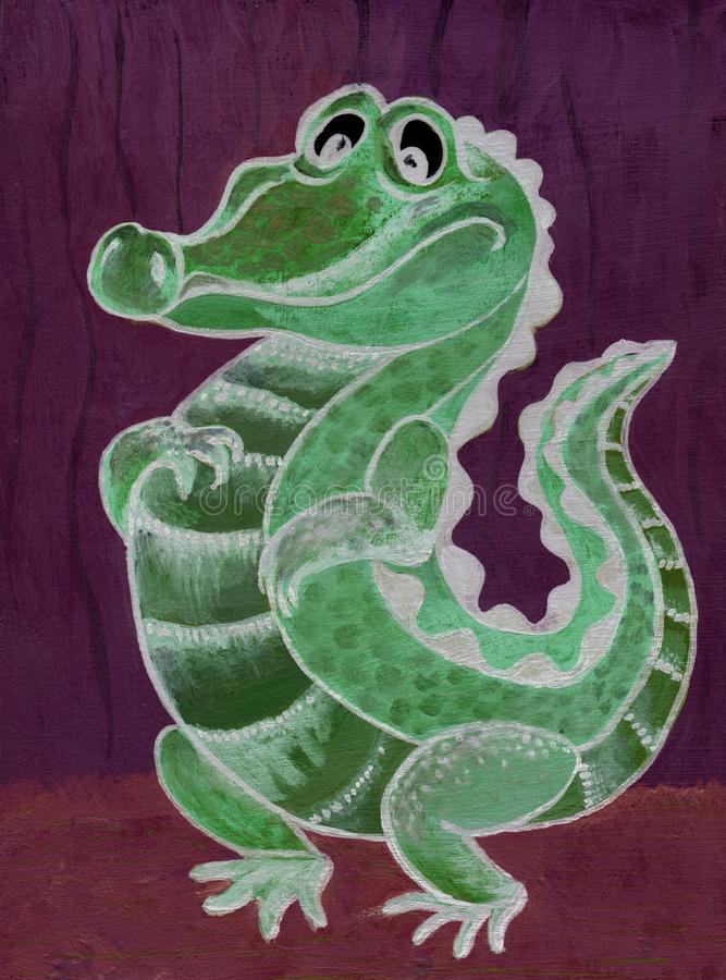 Crocodilo, personagem de banda desenhada Figura com pinturas acrílicas Ilustração para crianças handmade Use materiais impressos, ilustração do vetor