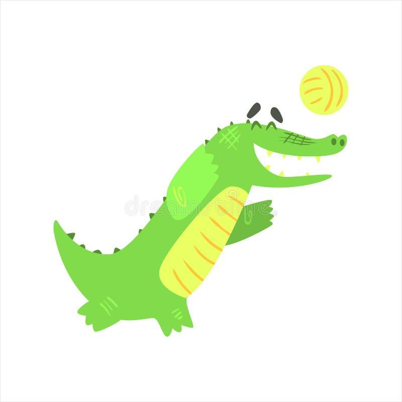 Crocodilo que joga o voleibol, caráter animal humanizado do réptil verde cada atividade do dia ilustração stock