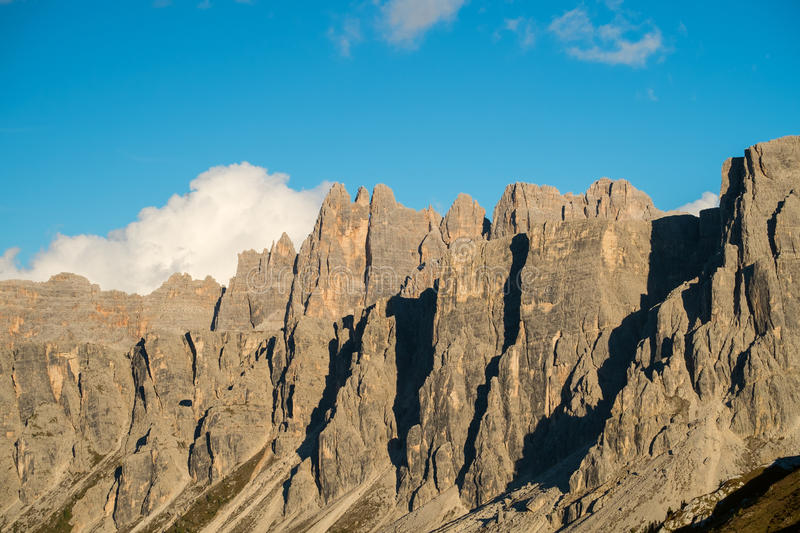 Croda da Lago, Dolomites, Italy. Rocky mountain peaks of Croda da Lago in the Dolomites, Italian Alps royalty free stock photos