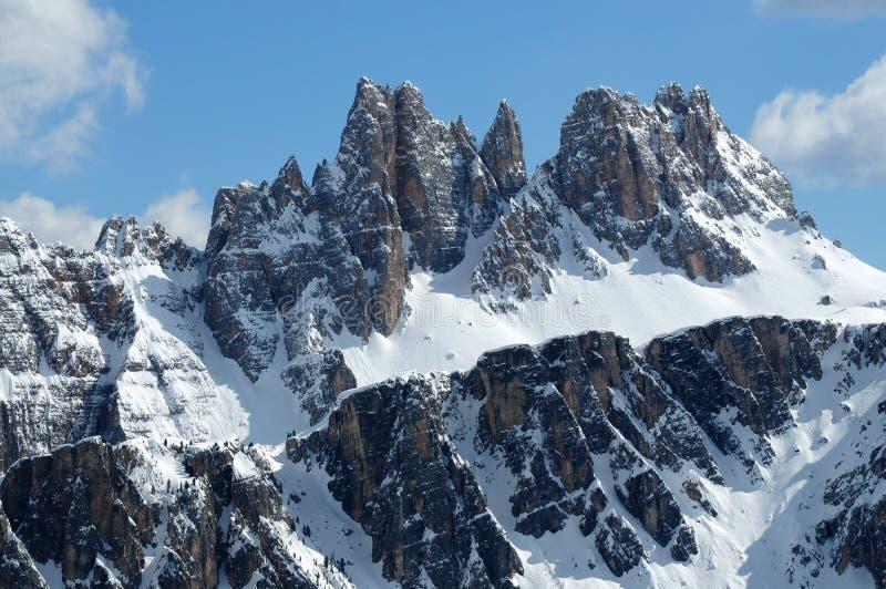 Croda DA Lago & Lastoni Di Formin, Dolomiet, in de winter, Veneto royalty-vrije stock foto's