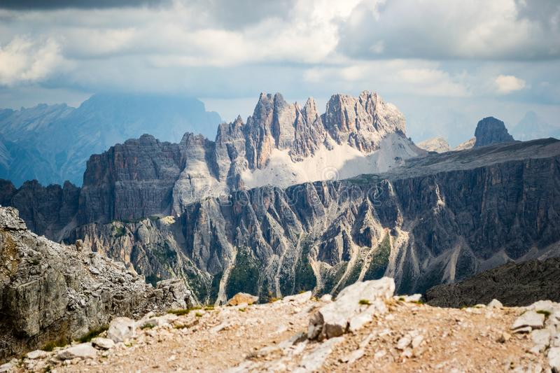 Croda da Lago, a scenic mountain ridge in Dolomites, just before a storm, as seen from Averau peak royalty free stock images