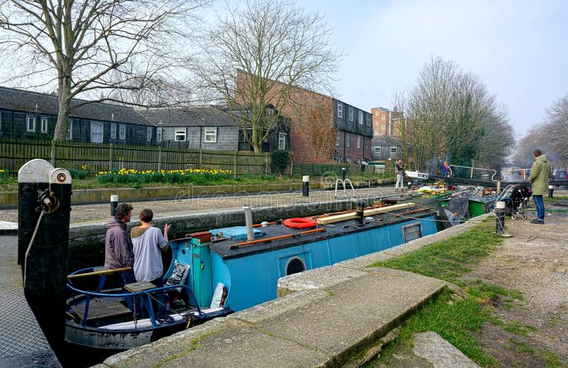 Crogioli di canale in serratura Canale dei reggenti Londra immagine stock