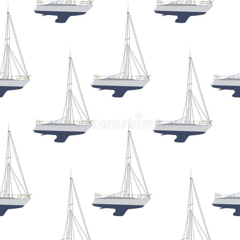 Crogiolo di acqua, fondo senza cuciture del modello della barca a vela royalty illustrazione gratis