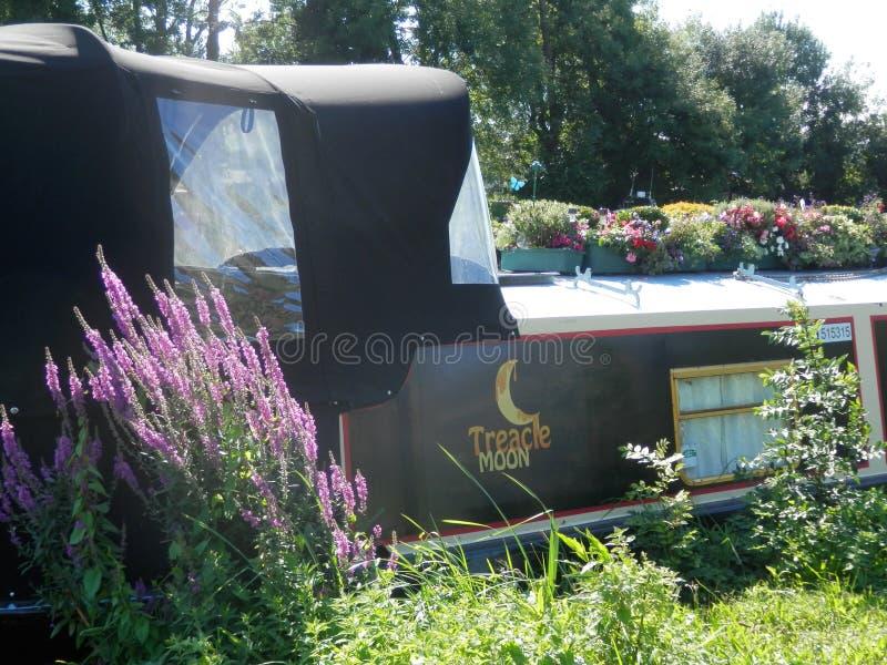 Crogiolo di canale attraccato sul Tamigi in Caversham fotografia stock libera da diritti