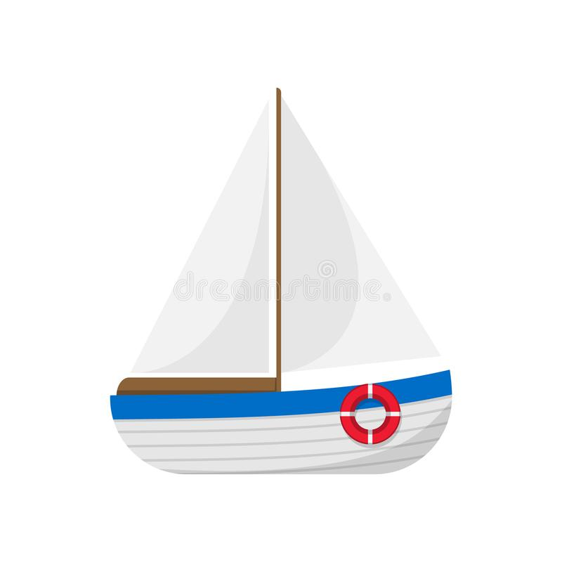 Crogiolo di vela isolato su priorità bassa bianca Illustrazione di vettore illustrazione vettoriale