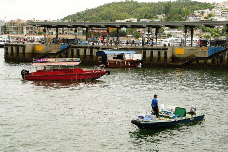 Crogiolo Sai Kung Pier, Sai Kung District Hong Kong di frutti di mare immagine stock