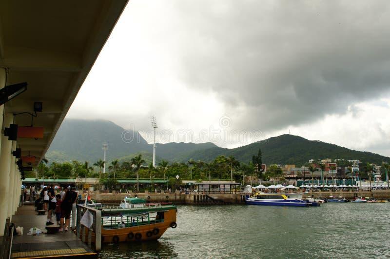Crogiolo Sai Kung Pier, Sai Kung District Hong Kong di frutti di mare degli azzurri fotografia stock