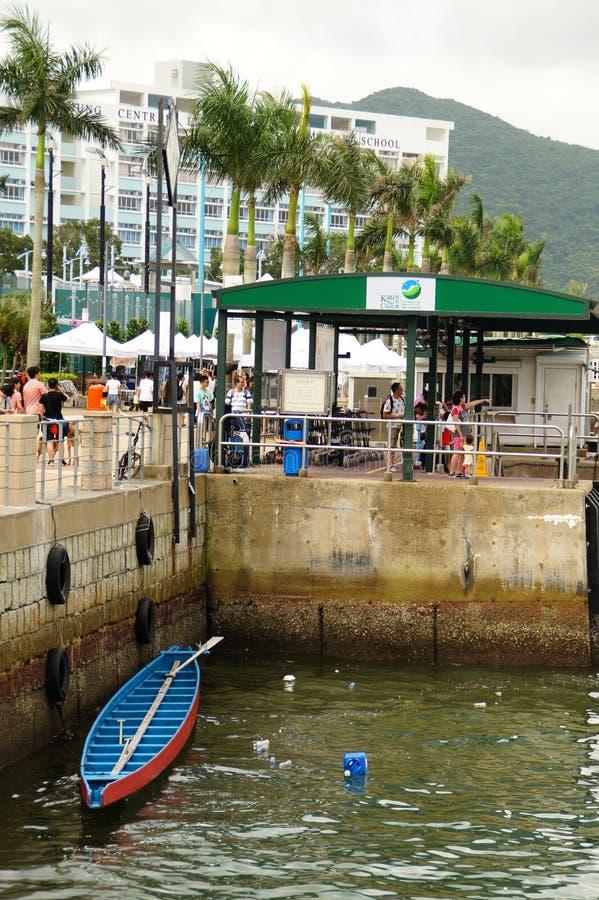 Crogiolo Sai Kung Pier, Sai Kung District Hong Kong di frutti di mare degli azzurri immagine stock libera da diritti