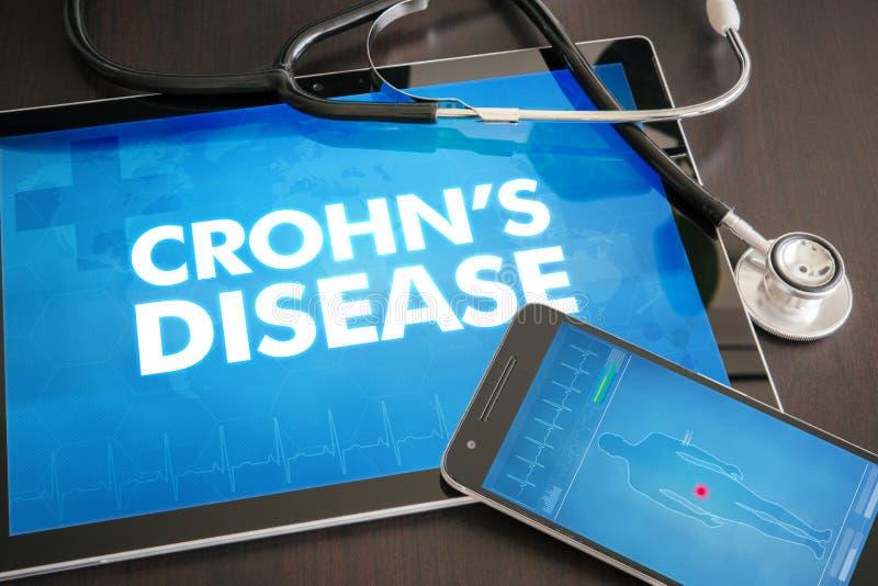 Crohn's disease (gastrointestinal disease related) diagnosis med. Crohn's disease (gastrointestinal disease) diagnosis medical concept on tablet screen with royalty free illustration