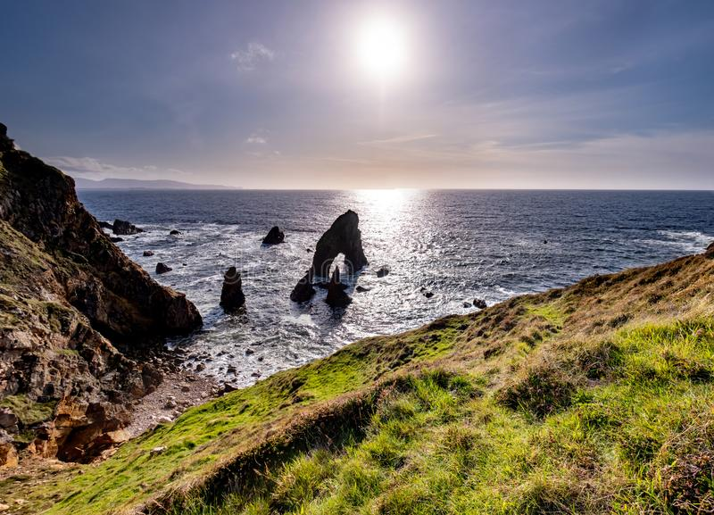 Crohy Head Sea Arch Breeches during sunset - County Donegal, Ireland.  royalty free stock photo