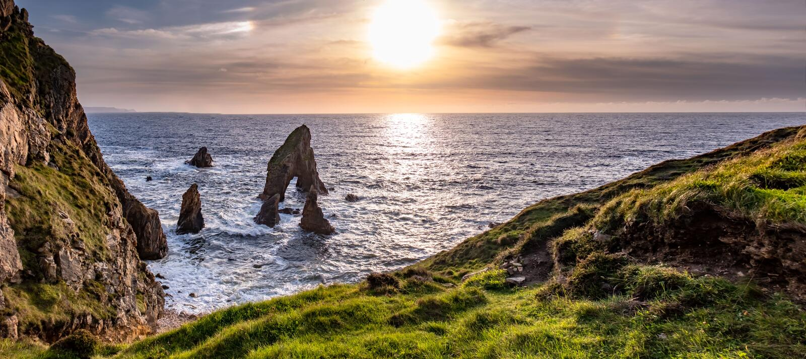 Crohy Head Sea Arch Breeches during sunset - County Donegal, Ireland.  stock photo