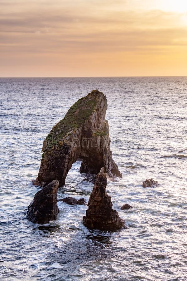 Crohy Head Sea Arch Breeches during sunset - County Donegal, Ireland.  royalty free stock photos