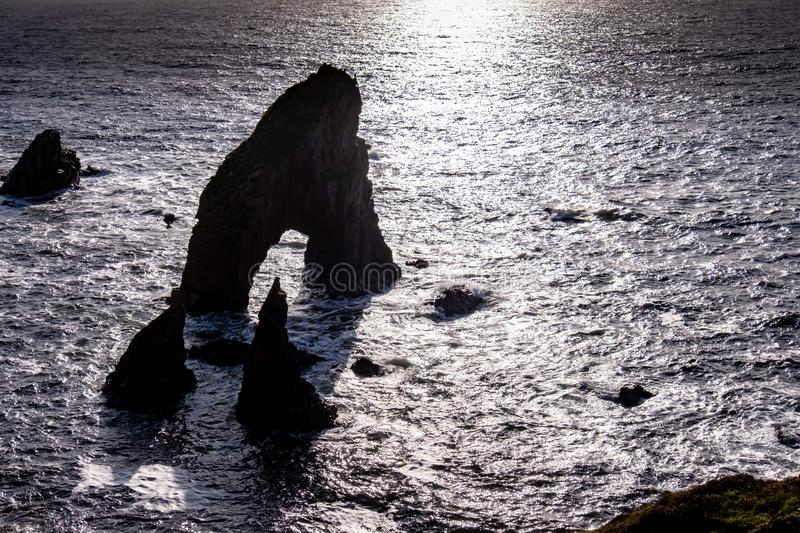 Crohy Head Sea Arch Breeches during sunset - County Donegal, Ireland.  royalty free stock image