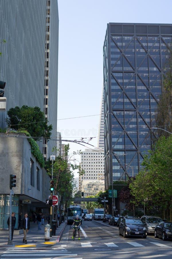 Croisement d'argile et de Davis Street à San Francisco image stock