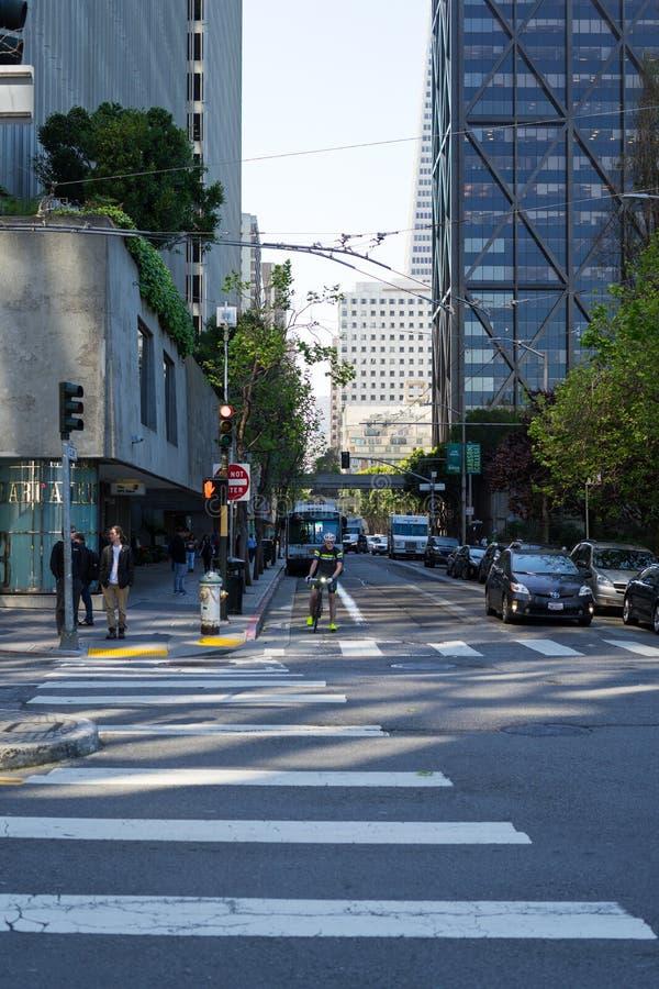 Croisement d'argile et de Davis Street à San Francisco photographie stock