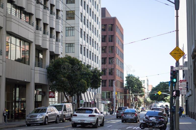 Croisement d'argile et de Davis Street à San Francisco photo libre de droits