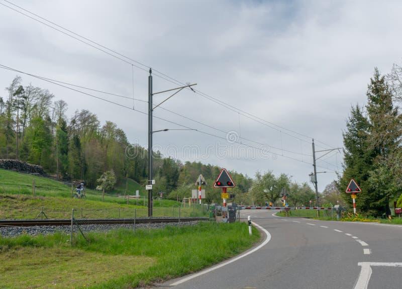 Croisement de chemin de fer avec des barrières et des lumières de clignotement dans la campagne verte de printemps photo libre de droits