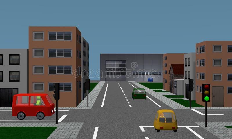 Croisement de route avec des feux de signalisation, des voitures, des maisons et l'usine illustration stock