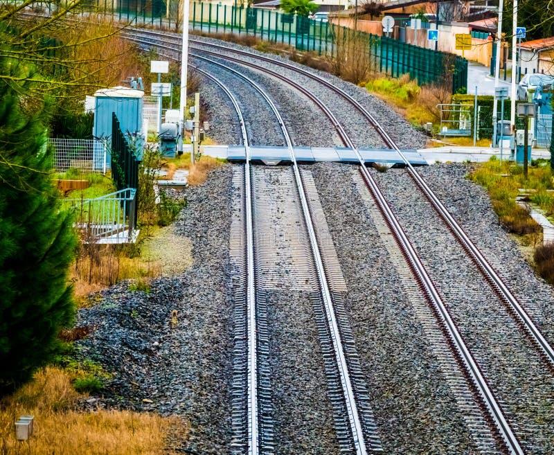 Croisement de route par le chemin de fer photos libres de droits