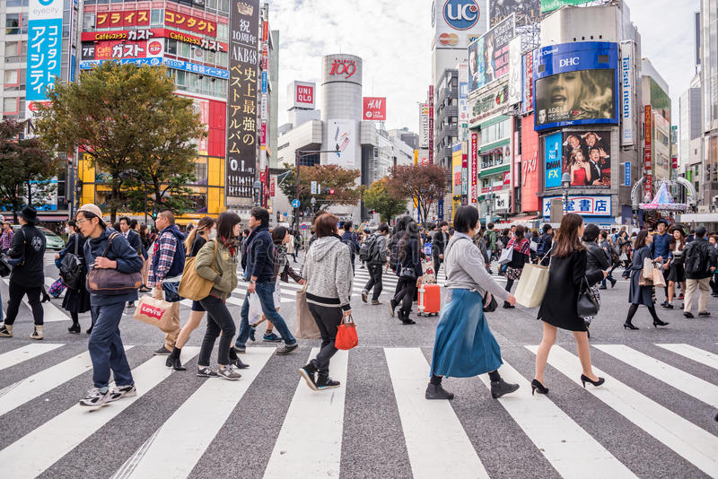 Croisement de Shibuya images libres de droits