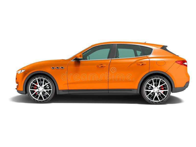 Croisement orange moderne de voiture pour le rendu de la vue de c?t? 3d de voyages d'affaires sur le fond blanc avec l'ombre illustration libre de droits