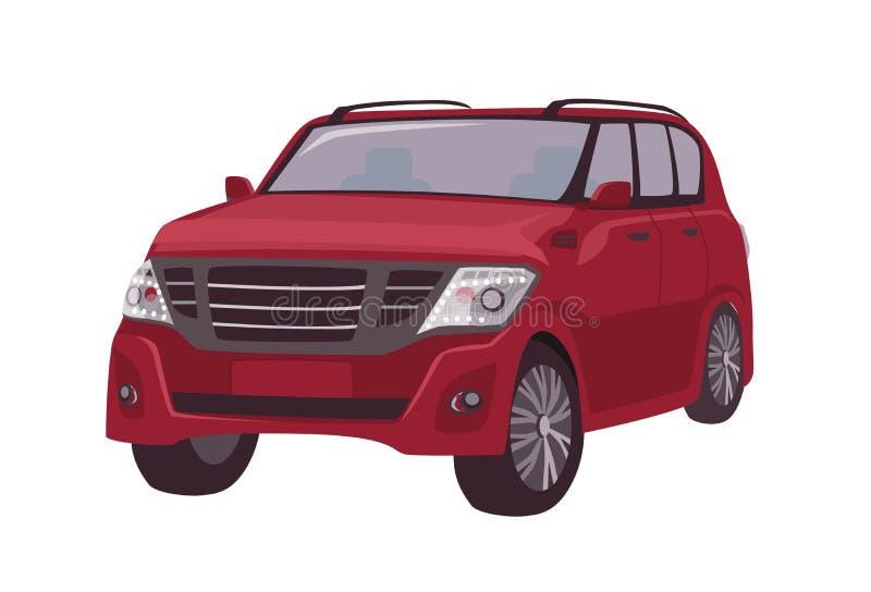 Croisement rouge moderne, voiture de CUV ou automobile d'isolement sur le fond blanc Véhicule à moteur de la meilleure qualité él illustration libre de droits