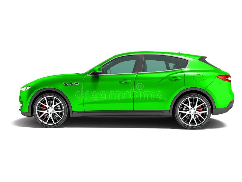 Croisement vert moderne de voiture pour la vue de côté 3D de voyages d'affaires rendre sur le fond blanc avec l'ombre illustration libre de droits