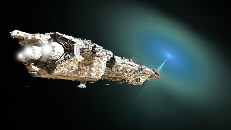 Croiseur cuirassé des sciences fiction approchant un trou de ver illustration libre de droits
